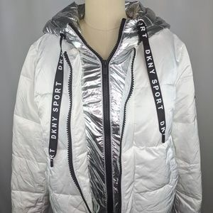 DKNY Sport Metallic Hood Puffer Jacket Womens sz S
